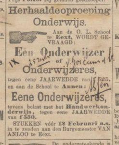 1895-02-01 Onderwijs vacature onderwijzer