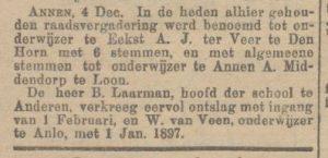 1896-12-06 Onderwijs benoeming schoolmeester  van veen w middendorp