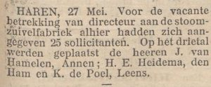 1903-05-27 Divers sollicitatie Hamelen v zuivelfabriek