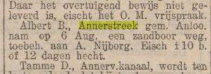 1904-09-08 Geweld misdaad Albert B. zandboor gestolen van A.Nijborg   Annerstreek   Albert Boer