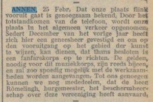 1910-00-00 Vereniging eerste telefoon oprichting fanfare geneesheer