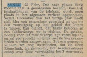 1910-02-25 Divers eerste telefoon oprichting fanfare geneesheer