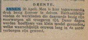 1916-04-20 Divers ijzerroer en hoefijzer gevonden