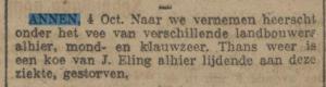1919-10-04 Divers Dierziekte mond en klauwzeer eling j