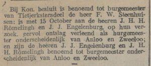 1920-10-21 Gemeente romelingh ontslag en aanstelling
