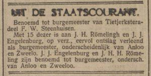 1920-10-21 Politiek benoeming Engelenburg