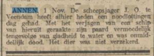 1922-11-01 Ongeval jaag paard dood niet verz.