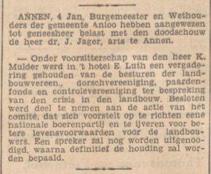 1932-01-04 Vereniging J.Jager geneesheer, k.mulder voorstel oprichten boerenpartij crisis landbouw