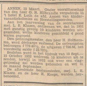 1932-03-16  Divers kindervacantiekolonies en herstellingsoorden L.E.Klasen E.Koops G.R.Hillbrandie