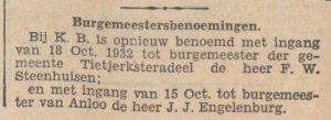 1932-09-15 Politiek herbenoeming Engelenburg