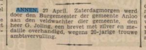 1936-00-00 Gemeente veldwachter joling jubileum