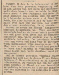 1936-01-28 spreekster mevr.vd. Moer uit Rolde wereldreizen