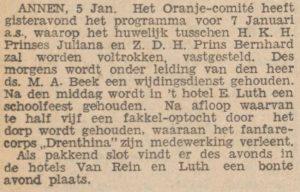 1937-01-05 Volksvermaken Oranje comite huw. Juliana Bernhard ds.M.A.Beek Drenthina