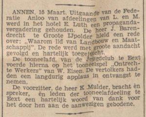 1937-03-16 Vereniging propaganda vergadering Landbouw en Maatschappij J. Barendrecht