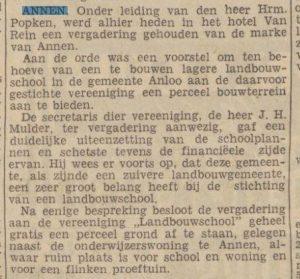 1938-00-00 Onderwijs oprichting landbouwschool