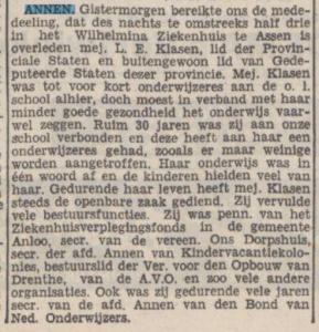 1939-01-06 Onderwijs juf Klasen overleden