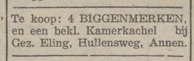 1940-12-21 Advertentie Gez. Eling Hullensweg De Hullen 12