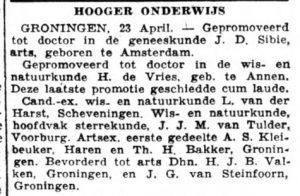 1942-04-07 Onderwijs benoeming doctor hessel de vries