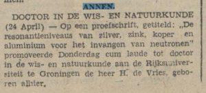 1942-04-24 Onderwijs doctor in de wis en natuurkunde vries de h