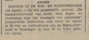 1942-04-25 Onderwijs benoeming doctor in de wis en natuurkunde hessel de vries