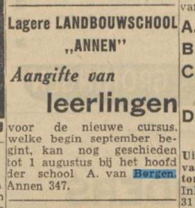 1956-00-00 Onderwijs  landbouwschool a.van Bergen