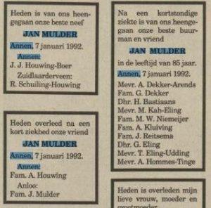 1992-01-07 Divers jan Divers mulder overlijden